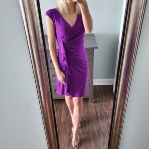 NWT Ralph Lauren Purple Faux Wrap Ruffle Dress